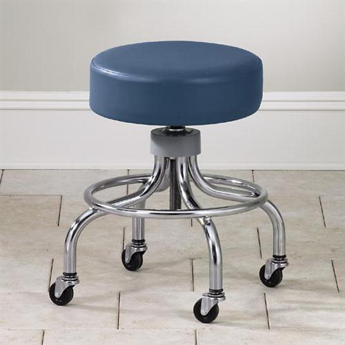 Clinton Adjustable Chrome Base Stool With Round Foot Ring
