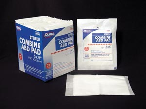 Dukal Combine Sterile ABD 5X9 Pads Tray of 25 Item 5590