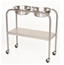 MCM 1003 Solution Stand with Shelf Stainless Steel Double Bowl