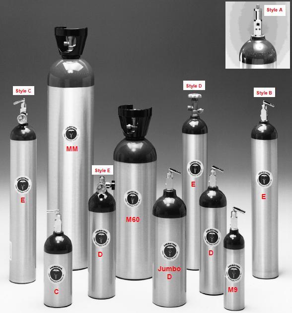 675 Liters C VALVE SINGLE Size E Aluminum oxygen tank Empty