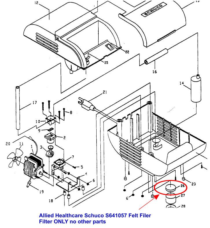 Allied Healthcare Schuco Nebulizer Felt Filter S641057
