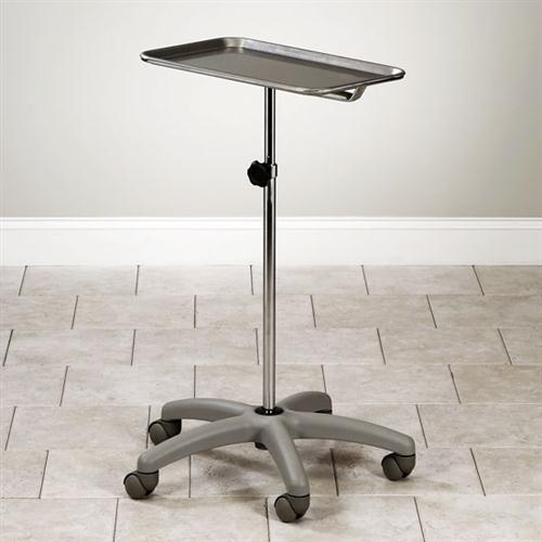 Adjustable Mobile Stainless Steel Insturment Stand with 5-Leg Gray Nylon Base with Tray