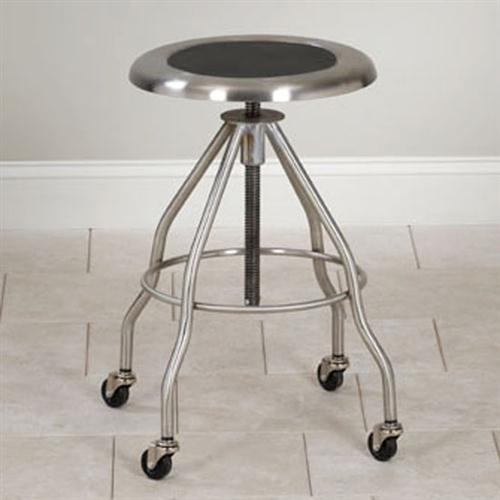 Awesome Adjustable Stainless Steel Stool With Casters With Polished Stainless Steel Seat With Recessed Black Vinyl Insert Forskolin Free Trial Chair Design Images Forskolin Free Trialorg