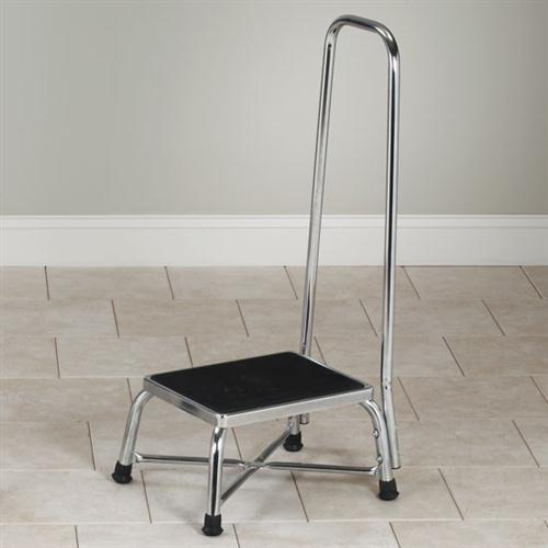 Chrome Bariatric Step Stool with Handrail
