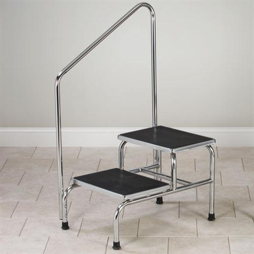 Chrome Bariatric Two Step Step Stool With Handrail Clinton
