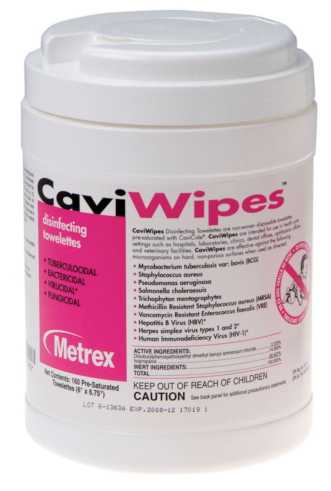 Metrex CaviWipes Surface Disinfectant Towelettes Item 13-1100