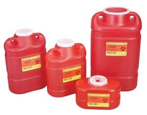 Bd Sharps Container 5 Gallon Red Tethered Cap 305100 Case Of 8