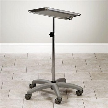 Clinton Adjustable Mobile Stainless Steel Insturment Stand with 5-Leg Gray Nylon Base