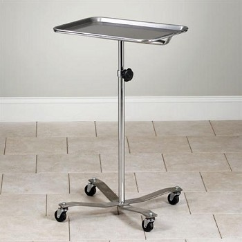 Adjustable Mobile Stainless Steel Insturment Stand with 4-Leg Stainless Steel Base with Tray