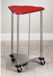 "Clinton Red 18"" Stainless Steel Triangular Hamper with Lid"