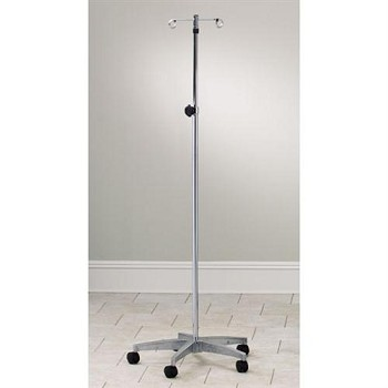 Clinton Adjustable Five-Leg  4-Hook IV Pole with Knob-Lock Adjustment with Cast Aluminum Base