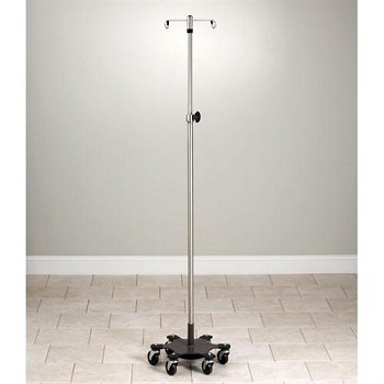 Clinton Adjustable Stainless Steel  Six-Leg  Space-Saver  Heavy Duty  4-Hook Infusion Pump Stand