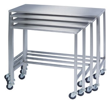 Medium Single Stainless Steel Nesting Table by Lakeside 8381