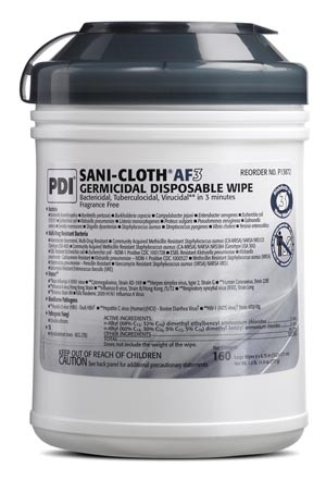 "PDI Sani-Cloth AF3 Disinfectant Wipes Large 6""x6"" P13872 Case"
