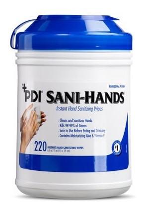 Pdi Sani Hands Instant Hand Sanitizing Wipes Large 6x7 220